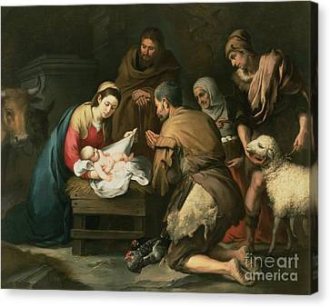 The Adoration Of The Shepherds Canvas Print by Bartolome Esteban Murillo