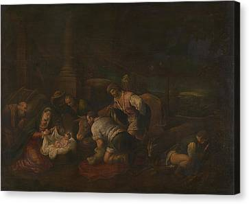 The Adoration Of The Shepherds Canvas Print by Follower of Jacopo Bassano
