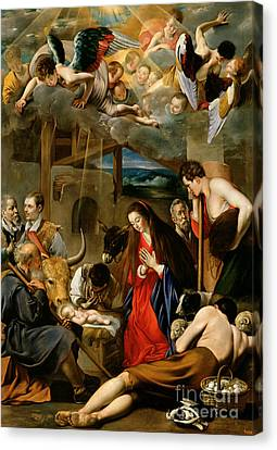 Manger Canvas Print - The Adoration Of The Shepherds by Fray Juan Batista Maino or Mayno
