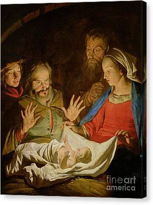The Adoration Of The Shepherds Canvas Print by Matthias Stomer