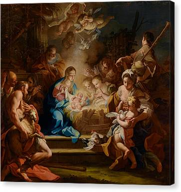 The Adoration Of The Shepherds Canvas Print by Sebastiano Conca