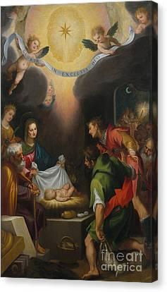 Nativity Canvas Print - The Adoration Of The Shepherds With Saint Catherine Of Alexandria by Ludovico Cardi Cigoli