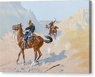 Remington Canvas Print - The Advance Guard Or The Military Sacrifice  The Ambush by Frederic Remington