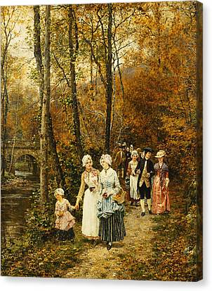 The Afternoon Stroll Canvas Print by Marie Francois Firmin Girard