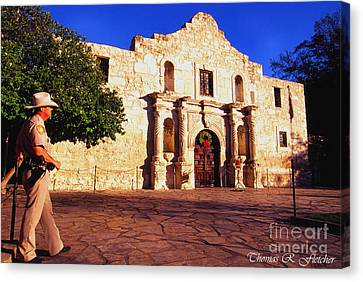 The Alamo And Ranger Canvas Print by Thomas R Fletcher