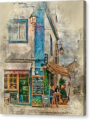 The Albar Coffee Shop In Alvor. Canvas Print by Brian Tarr