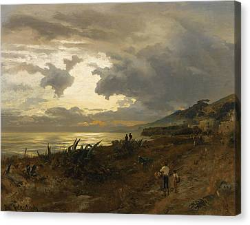 Italian Landscape Canvas Print - The Amalfi Coast by Oswald Achenbach