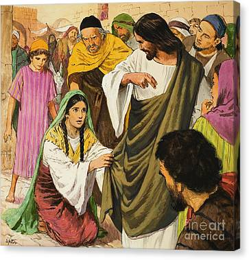 The Amazing Love Of Jesus  The Woman In The Crowd Canvas Print by Clive Uptton