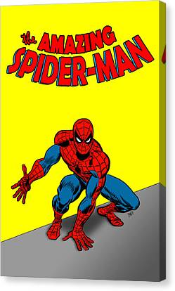 Canvas Print featuring the painting The Amazing Spider-man by Antonio Romero