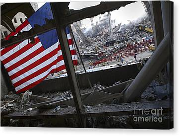 The American Flag Is Prominent Amongst Canvas Print by Stocktrek Images