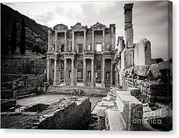 Library Of Celsus Canvas Print - The Ancient Library by Mirko Chianucci