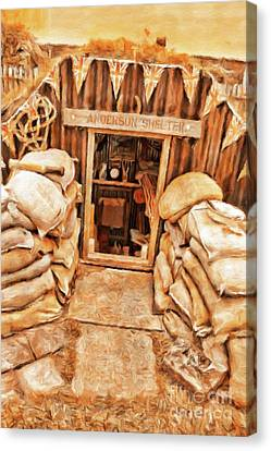 Trench Canvas Print - The Anderson Shelter By Sarah Kirk by Sarah Kirk