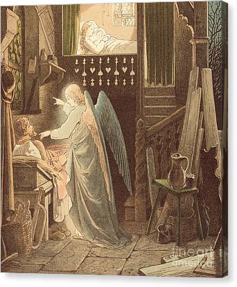 The Angel Appearing To Joseph Canvas Print by Victor Paul Mohn