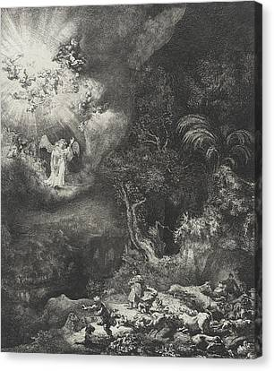 The Angel Appearing To The Shepherds Canvas Print by Rembrandt