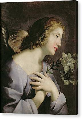 The Angel Of The Annunciation Canvas Print by Giovanni Francesco Romanelli