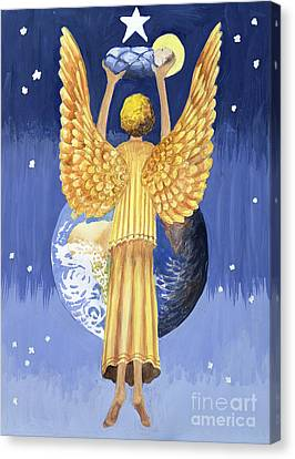 Angels Of Christmas Canvas Print - The Angel Of The World by Trish Schreiber