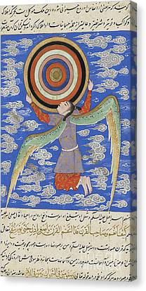 Sphere Canvas Print - The Angel Ruh Holding The Celestial Spheres by Persian School
