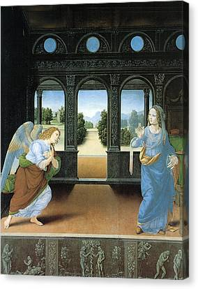 The Annunciation By Di Credi Canvas Print by Lorenzo Di Credi