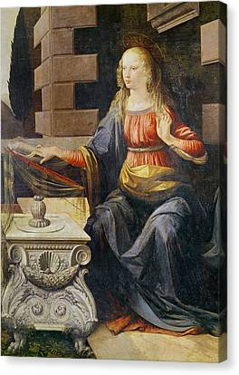 The Annunciation   Detail Of The Virgin Canvas Print by Leonardo Da Vinci