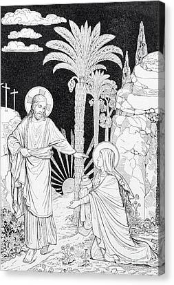 The Apparition Of The Lord To Mary Of Magdalen Lithography Canvas Print by Jozef Sedmak