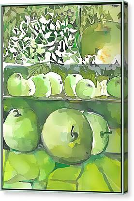 Canvas Print featuring the painting The Apple Closet by Mindy Newman