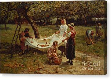 Country Scene Canvas Print - The Apple Gatherers by Frederick Morgan