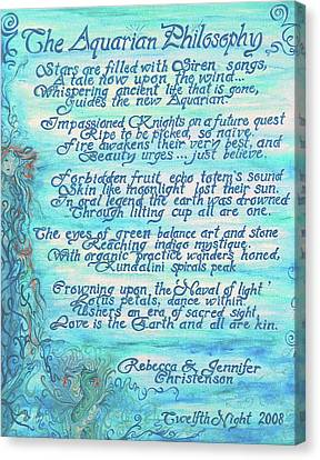 Aquarian Canvas Print - The Aquarian Philosophy by Jennifer Christenson