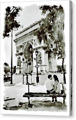 Black People Canvas Print - The Arc De Triomphe Paris Black And White by Marian Voicu