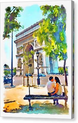 Couple Canvas Print - The Arc De Triomphe Paris by Marian Voicu