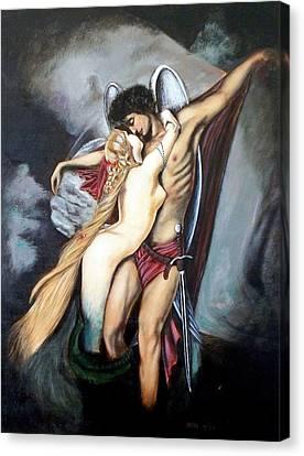 The Arcangel Micheal And  The Mermaid Canvas Print