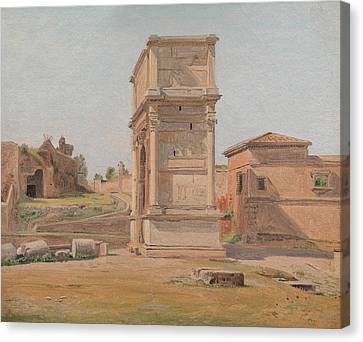 The Arch Of Titus In Rome, 1839 Canvas Print by Carl Christian Constantin Hansen