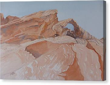 Canvas Print featuring the painting The Arch Rock Experiment - Vii by Joel Deutsch