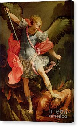 The Archangel Michael Defeating Satan Canvas Print by Guido Reni