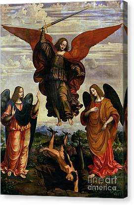 Gabriel Canvas Print - The Archangels Triumphing Over Lucifer by Marco DOggiono