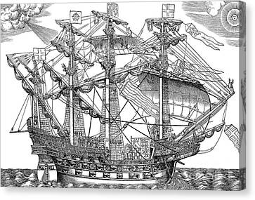 Ark Canvas Print - The Ark Raleigh, The Flagship Of The English Fleet by English School