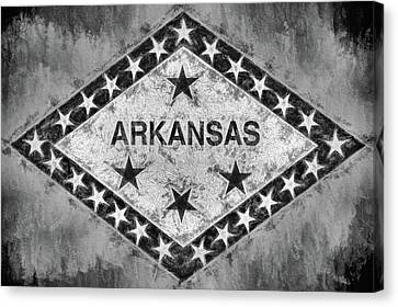 The Arkansas State Flag In Black And White Canvas Print by JC Findley