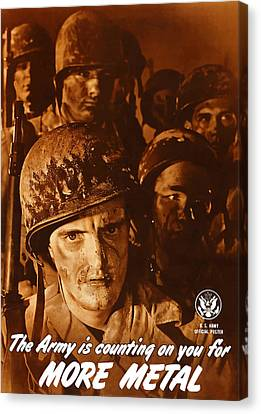 Ww1 Canvas Print - The Army Is Counting On You  by War Is Hell Store