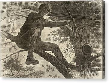 Hunting Canvas Print - The Army Of The Potomac  A Sharpshooter by Winslow Homer