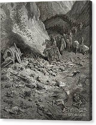The Army Of The Second Crusade Find The Remains Of The Soldiers Of The First Crusade Canvas Print by Gustave Dore