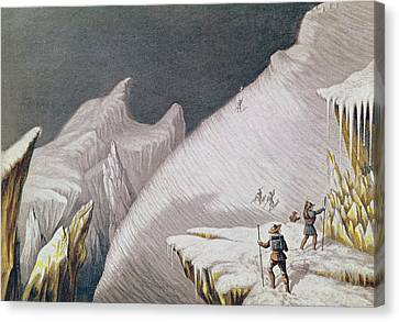 The Arrival At The Summit  The Ascent Of Mont Blanc  Canvas Print by George Baxter