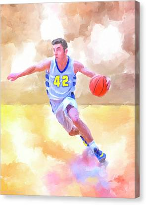 Canvas Print featuring the painting The Art Of Basketball by Mark Tisdale