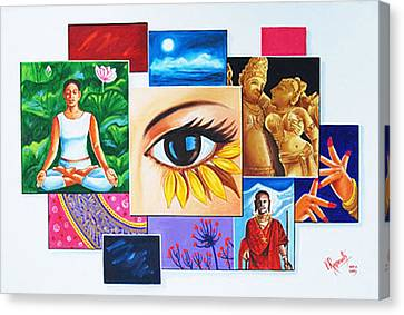 Canvas Print featuring the painting The Art Of Expression by Ragunath Venkatraman