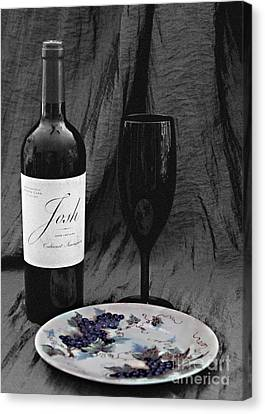 The Art Of Wine And Grapes Canvas Print by Sherry Hallemeier