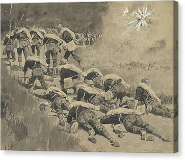 The Artful Dodgers  Shrapnel Coming Down The Road Canvas Print by Frederic Remington