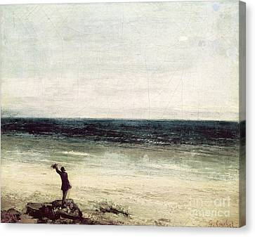 The Artist On The Seashore At Palavas Canvas Print by Gustave Courbet