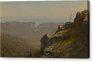 The Artist Sketching At Mount Desert Maine Canvas Print by Sanford Robinson Gifford