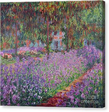 Impressionist Landscape Canvas Print - The Artists Garden At Giverny by Claude Monet