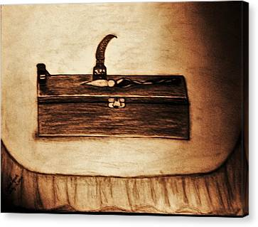 The Artists Pencil Box And Ink Well And Pen Canvas Print by Debra Lynch