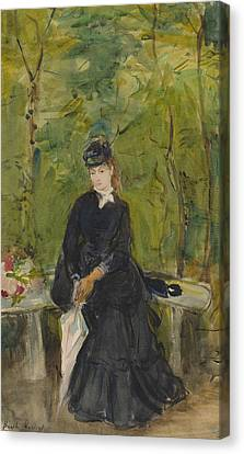 The Artist's Sister Edma Seated In A Park Canvas Print