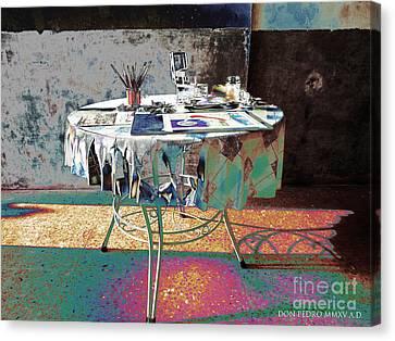 The Artists Table Canvas Print by Don Pedro De Gracia